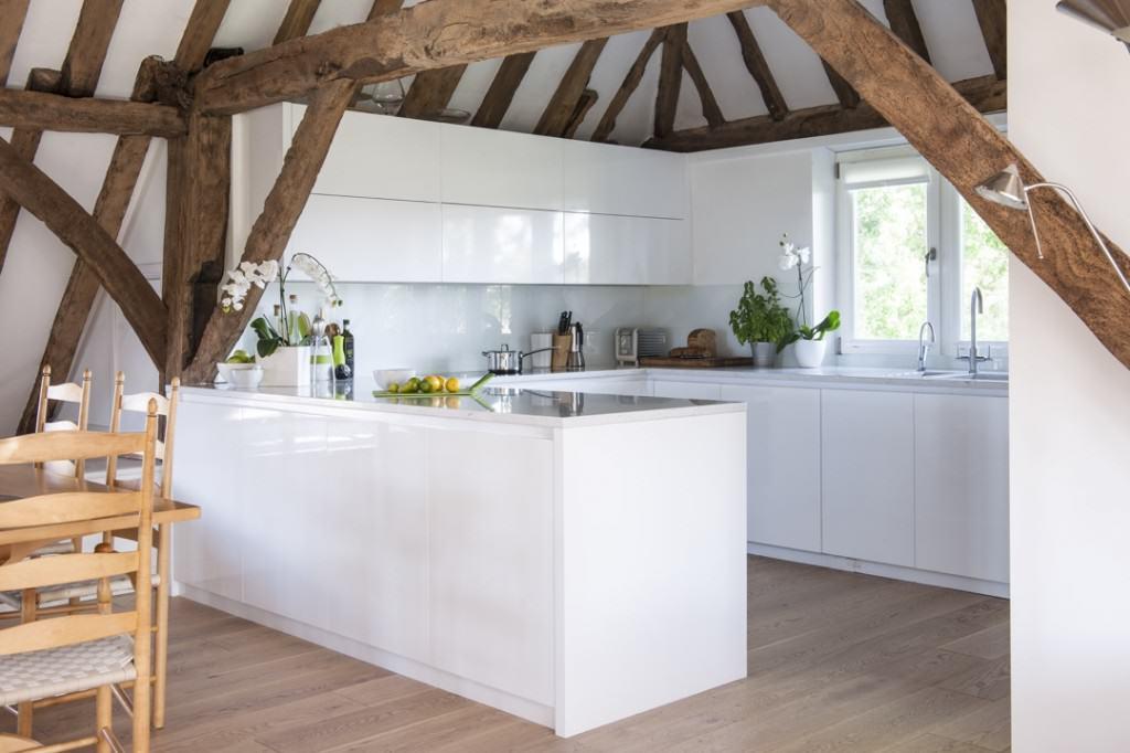 Minimalist kitchen in barn conversion mtd for Barn conversion kitchen designs