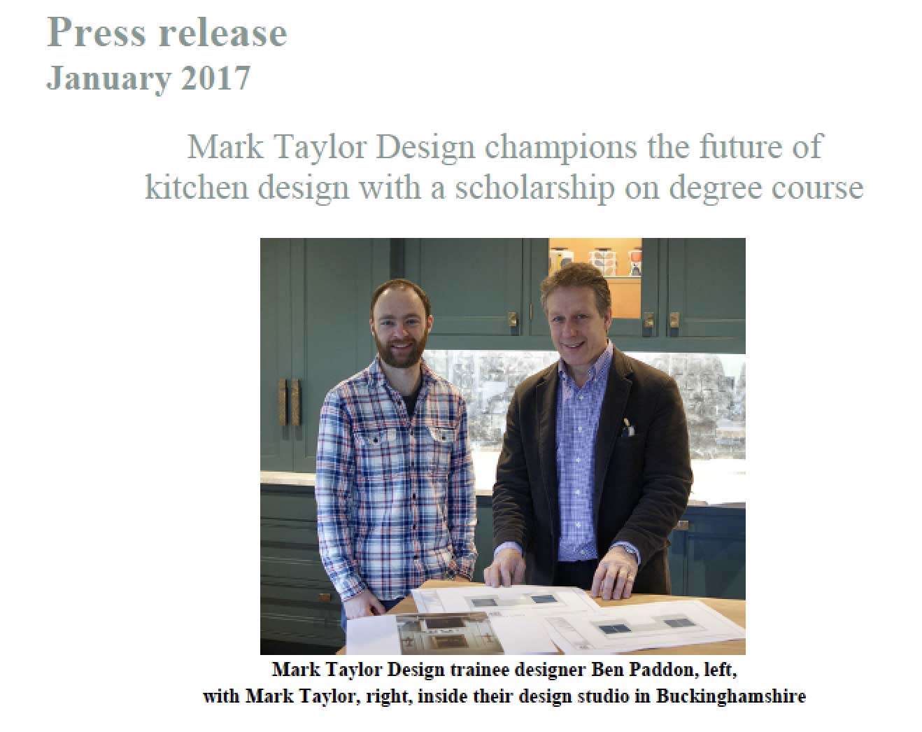 Mark Taylor Design Champions The Future Of Kitchen Design With A Scholarship On Degree Course Mtd